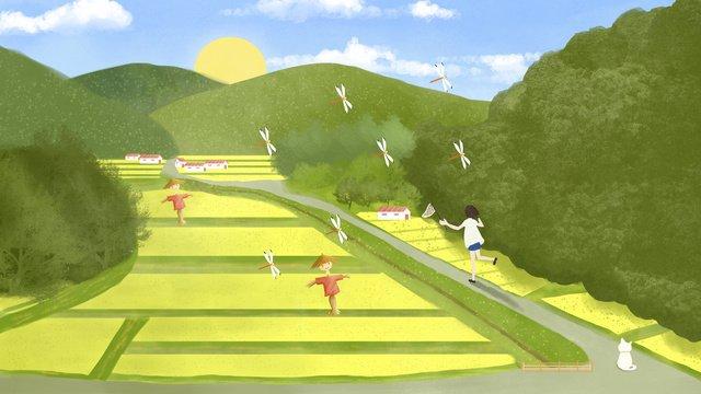 더블 아홉 번째 축제 황금 쌀 필드 little fresh girl 삽화 소재 삽화 이미지