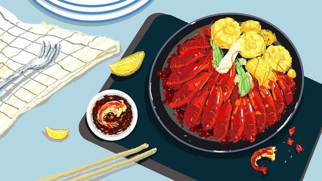 가을 건강 식품 가재 삽화 소재 삽화 이미지