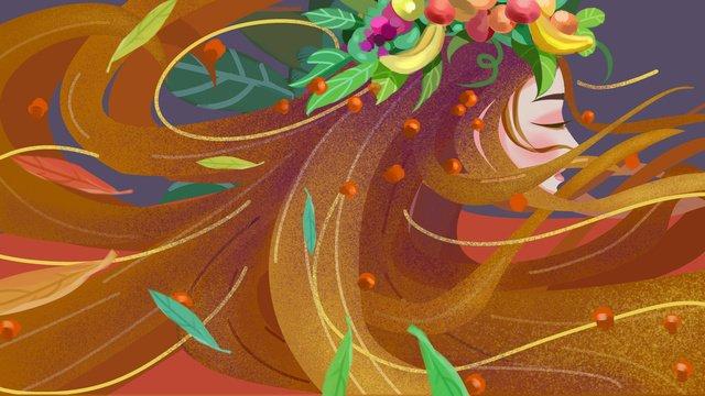 秋の女の子の髪飛行ファンタジーイラスト イラストレーション画像