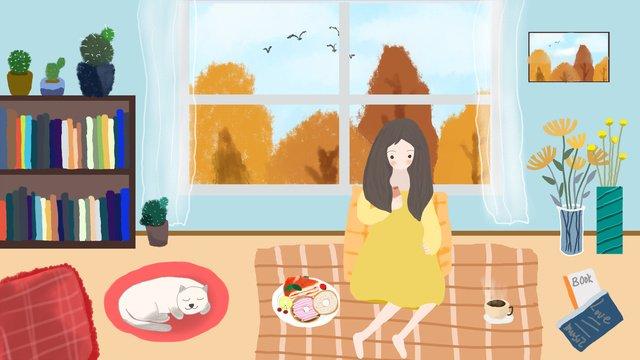 Autumn whispers home leisure life llustration image illustration image