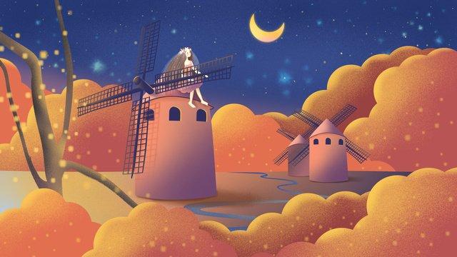 original hand drawn illustration autumn whisper girl with windmill llustration image