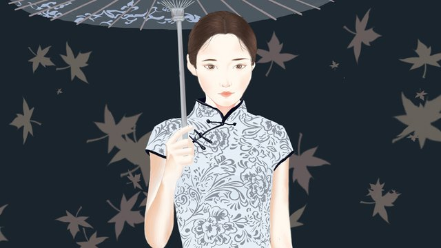 simple and delicate realistic autumn wind blowing umbrella cheongsam woman illustration llustration image illustration image