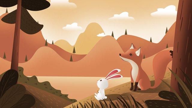 Autumnal festival cartoon little fox rabbit illustration, Autumnal, Autumn, Beginning Of Autumn illustration image
