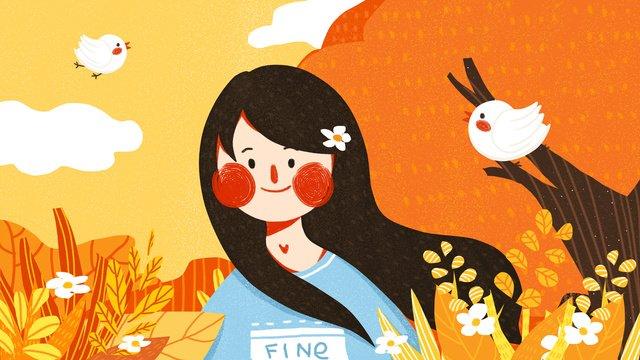 秋の女の子かわいいシンプルなフラットオリジナルイラスト秋の  あき  シーズン PNGおよびPSD illustration image
