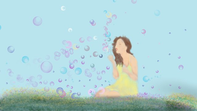 Autumn holiday background blowing bubbles illustration llustration image