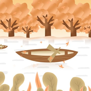 Original simple twenty-fourth autumn forest boat illustration, Autumnal, Beginning Of Autumn, Solar Terms illustration image