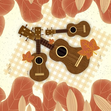 Original simple and fresh twenty-fourth autumn forest guitar illustration, Autumnal, Beginning Of Autumn, Solar Terms illustration image