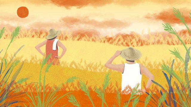 原創節氣秋分全國農民豐收節插畫 插畫素材 插畫圖片