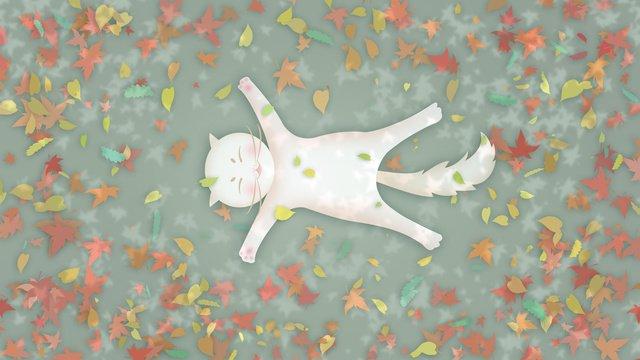 Kitten lying on the fallen leaves in shade of autumn, Autumnal, Fall, Fallen Leaves illustration image