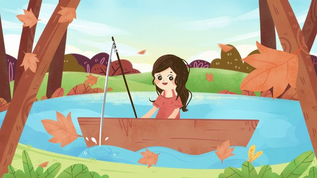 Autumn fall fallen leaves maple leaf lake tourist excursion fishing girl, Autumnal, Fall, Fallen Leaves illustration image