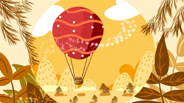 Autumnal fall festival Solar terms, Hot Air Balloon, Illustration, Painting illustration image