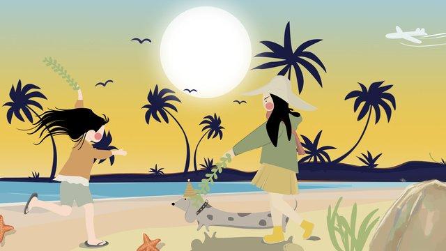Lunar autumn equinox at the seaside sunset walking puppy hand drawn illustration, Autumnal, Fall, Seaside illustration image