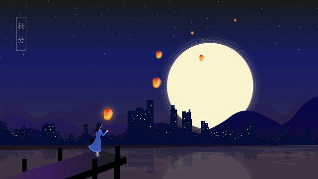 秋の夜のベクトル図 イラスト素材