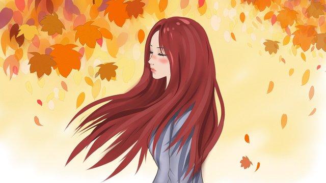 秋の季節の木の下で飛んでいる髪の少女の元のイラスト イラストレーション画像