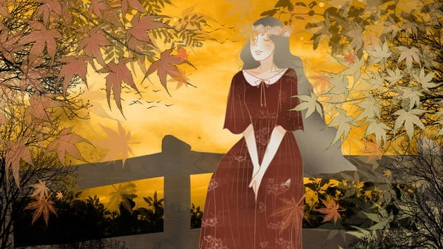 Autumnal Solar terms fall romantic, Warm, Dusk, Girl illustration image