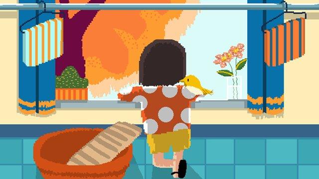 레트로 픽셀 단풍 축제 가을 캐릭터 공장 손으로 그린 그림 삽화 소재 삽화 이미지