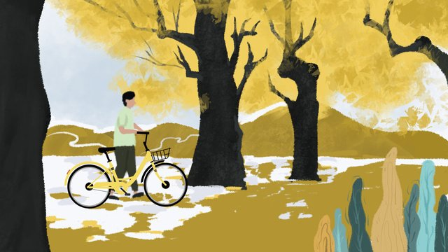 Autumn beautiful fresh and natural warm color the original person riding a bicycle under maple tree, Autumnal, Yellow Leaves, Cyclists illustration image