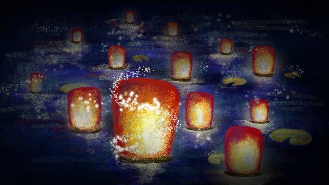 zhongyuan festivalの提灯は幽霊と恐怖のために祈る イラストレーション画像 イラスト画像