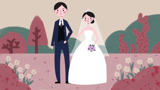 pink small fresh couple wedding invitation illustration llustration image