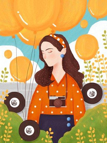 bande de cheveux rétro fille tenant un ballon orange image d'llustration