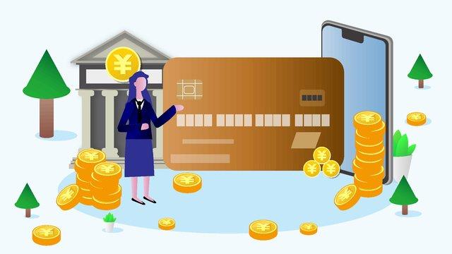 Financial bank credit card flat illustration, Bank, Stock Market, The Internet illustration image