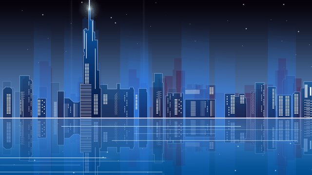 Neon skyline gradient city night view nanjing atmosphere blue technology with sense, Banner, Blue Gradient Background, Nanjing Landmark illustration image