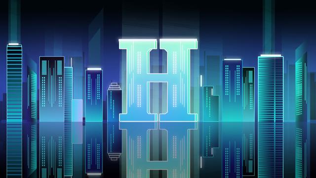 Letter 邂逅h gradient city night scene technology blue high-end atmosphere poster, Banner, H5, Gradient City illustration image
