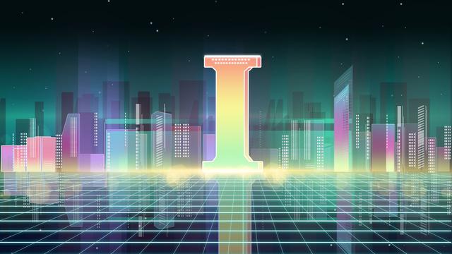 Letter 邂逅i warm color gradient city internet blockchain poster, Banner, H5, I illustration image
