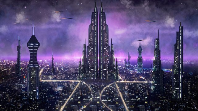 science fiction city night view monde de la nuit image d'llustration image d'illustration