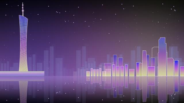 Neon skyline gradient city night view guangzhou landmark illustration poster background, Banner, H5 Map, Gradient City illustration image