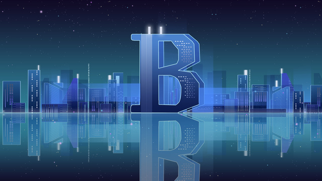 list 邂逅 b gradient city night bitcoin financial technology poster obraz llustration
