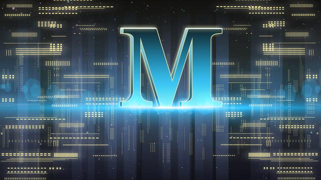 Letter 邂逅m advanced gradient technology sense background internet poster, Banner, H5 Map, M illustration image