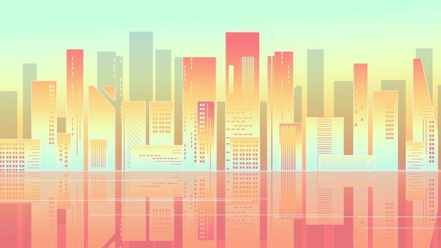neon skyline Ấn tượng thành phố lãng mạn thủ đô chữa bệnh gradient minh họa poster Hình minh họa