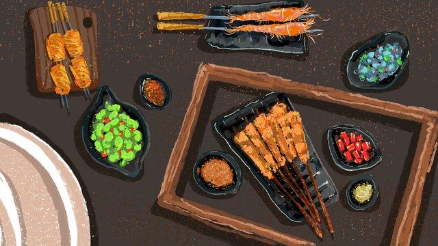Bbq food original illustration, Barbecue, Delicious, Tasty illustration image