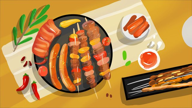 String skewer original illustration, Barbecue, Food, Fresh illustration image