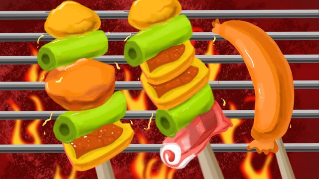Delicious skewers on the tip of tongue, Barbecue, String, Food illustration image