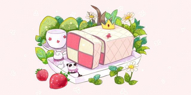 gourmet afternoon tea dessert pattenberg cake llustration image