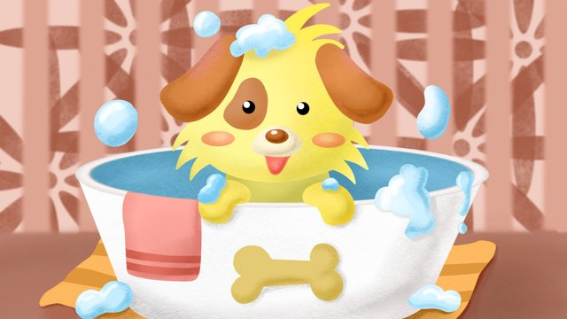 Puppies in the bath of cute pets, Bathing, Puppy, Towel illustration image