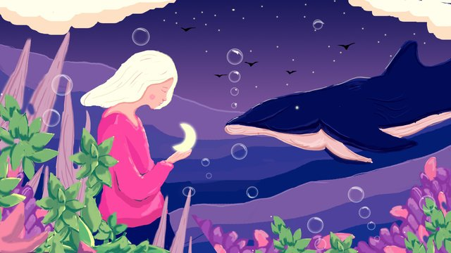 Sea and whale, Be Quiet, Cure, Quiet illustration image