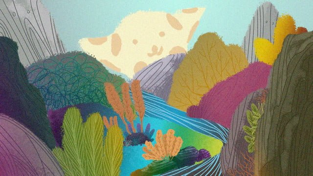 원래 그림 중국 스타일의 산 이야기 삽화 소재