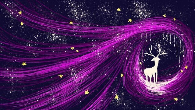美しい夢自己修復白鹿コイル印象星空パープル手描きイラスト イラスト素材