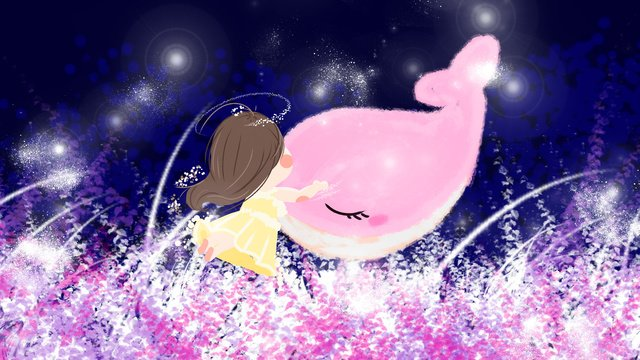 Little girl with whale beautiful dreamy dreamland illustration, Beautiful, Dream, Grass illustration image