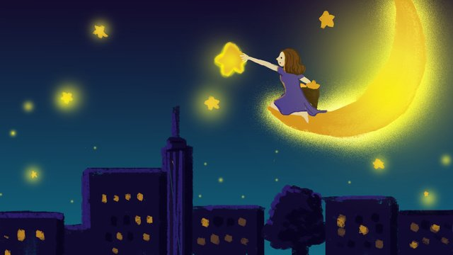 Beautiful dream healing wind night starry sky over the stars girl, Beautiful Dream, Healing Wind, Night illustration image
