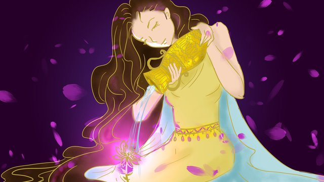 beautiful dreamy fairyland 12 constellation aquarius long hair fairy illustration llustration image illustration image