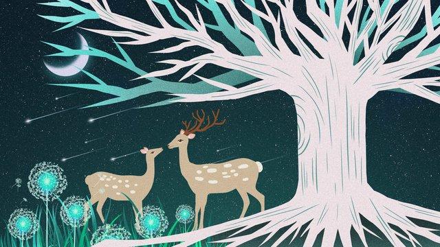 아름다운 치유 시스템 포리스트 및 사슴 그림 삽화 소재 삽화 이미지