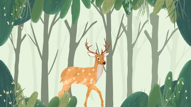 Beautiful fresh forest and deep deer illustration, Beautiful, Fresh, Forest illustration image