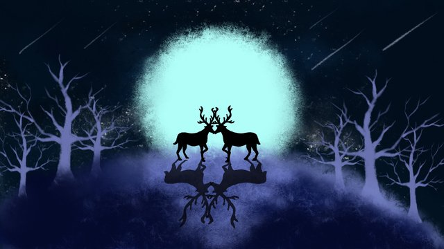 Simple illustration of a fresh forest with deer beautiful moonlight, Beautiful, Moonlight, Forest illustration image