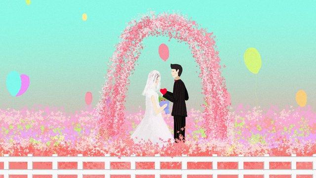 ロマンチックな花海の結婚式のシーンオリジナルイラスト イラスト素材