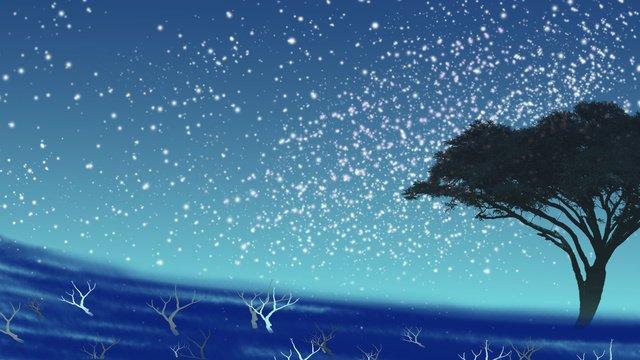 Beautiful starry sky, Beautiful, Starry Sky, Illustration illustration image