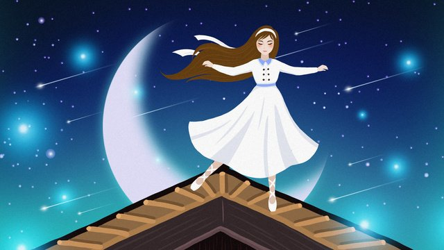 Beautiful dream healing roof starry sky girl illustration, Beautiful Starry Sky Illustration, Healing Starry Sky Illustration, Healing System Illustration illustration image